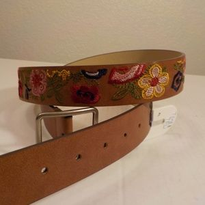 Floral Embroidery Faux Leather Belt Brown XL